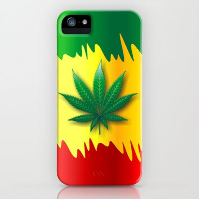 Cannabis Leaf on Rasta Colors Flag iPhone Case by Bluedarkat Lem - $35.00