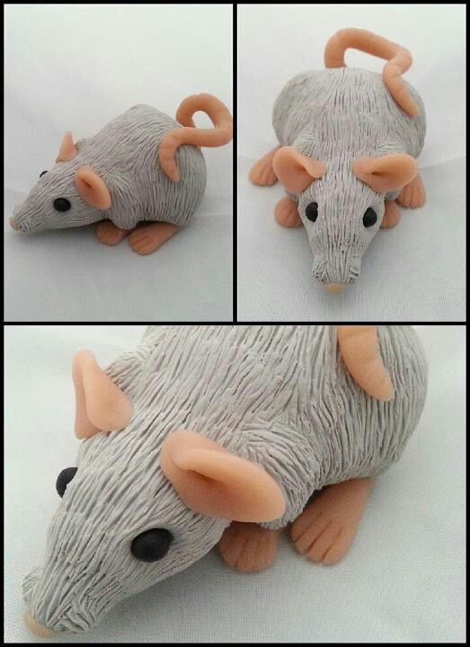 Grey Sculpey Rat polymer clay fimo: Polymer Clay Fimo, Sculpey Rats, Grey Sculpey, Crafts Polymer Clay, Clay Animal, Rats Polymer, Polymer Animal, Clay Bit, Clay Crafts