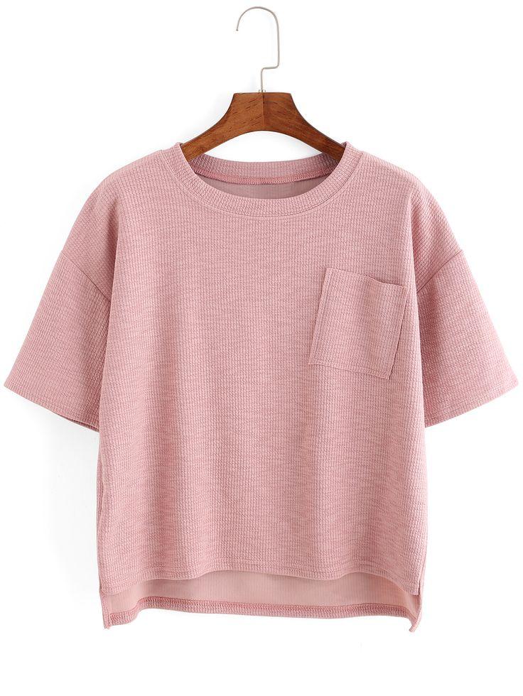 Dip+Hem+Split+Ribbed+Pink+T-shirt+10.83