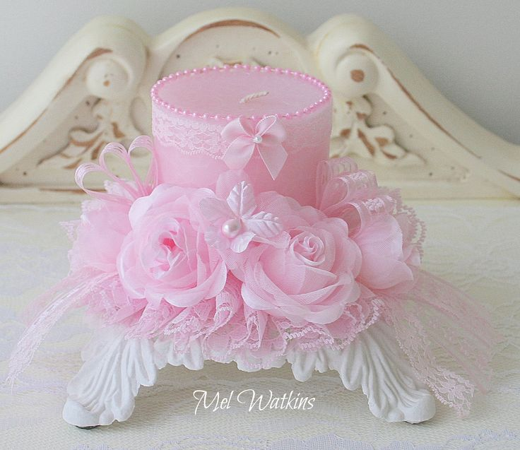 shabby pink decorated candle - Candle Decorations