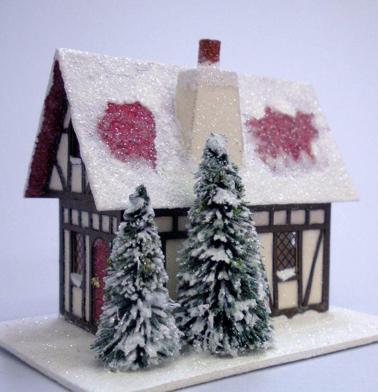 glitter houses tree tutorial