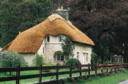 Thatched cottages in the village of Merthyr Mawr, Bridgend, South Wales, UK
