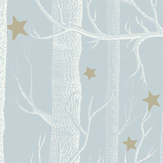 Woods & Stars Wallpaper A Cole's classic wallpaper with a twist, white trees with gold stars on a pale blue background