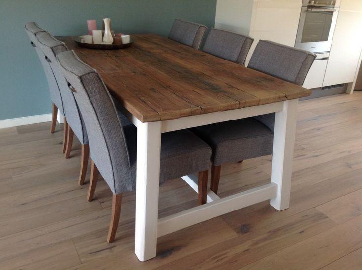 25 beste idee n over brocante eettafels op pinterest gerenoveerde eettafels verf houten - Tafel eetkamer hout wit ...
