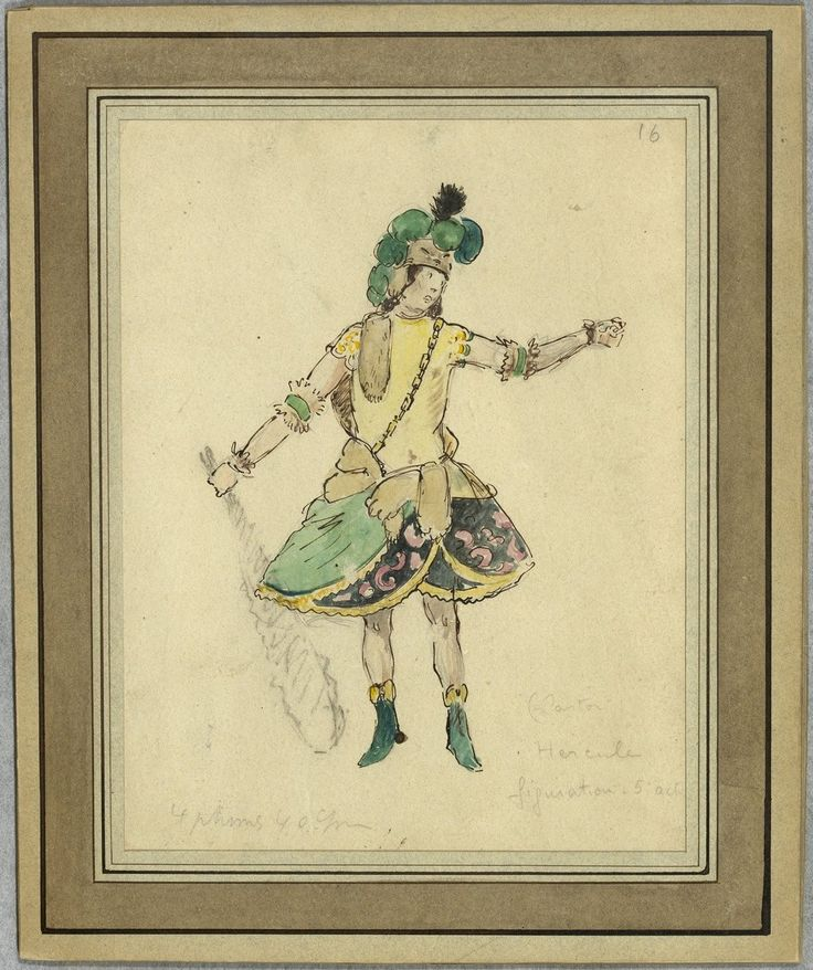 """Costume design (1918), by Jacques Drésa (1869-1929), for Hercules, in Act 5 of """"Castor et Pollux"""" (1737), by Jean-Philippe Rameau (1683-1764)."""