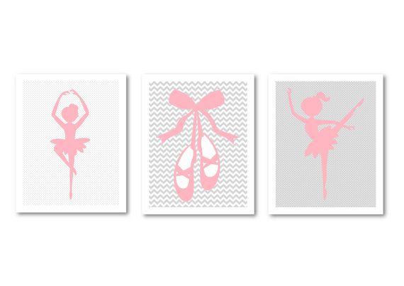 Ballet dancers printable nursery art by PinkMilkshakeDigiArt