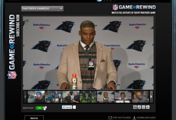 Cam Newton press conference week 6. Cam is wearing the MADE oatmeal bone sportcoat. #belk #MADECamNewton