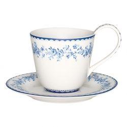 Indigo Audrey cup/saucer- kopp med skål- Greengate