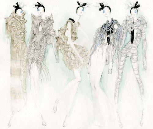 Fashion illustration - edgy elegance, stylish fashion sketches // Myrtle Quillamor