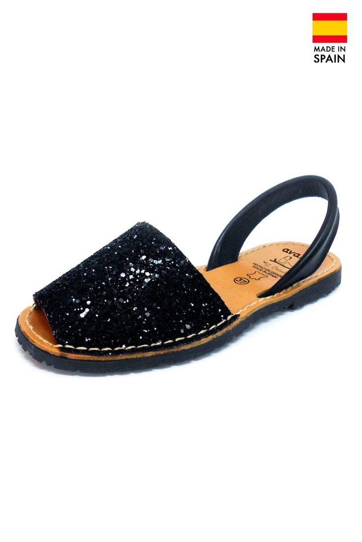 Sandale Avarca Menorquinas de dama din piele naturala, Glitter, negru