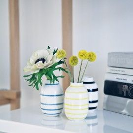 Kähler minivaser - Sort, blå, gul