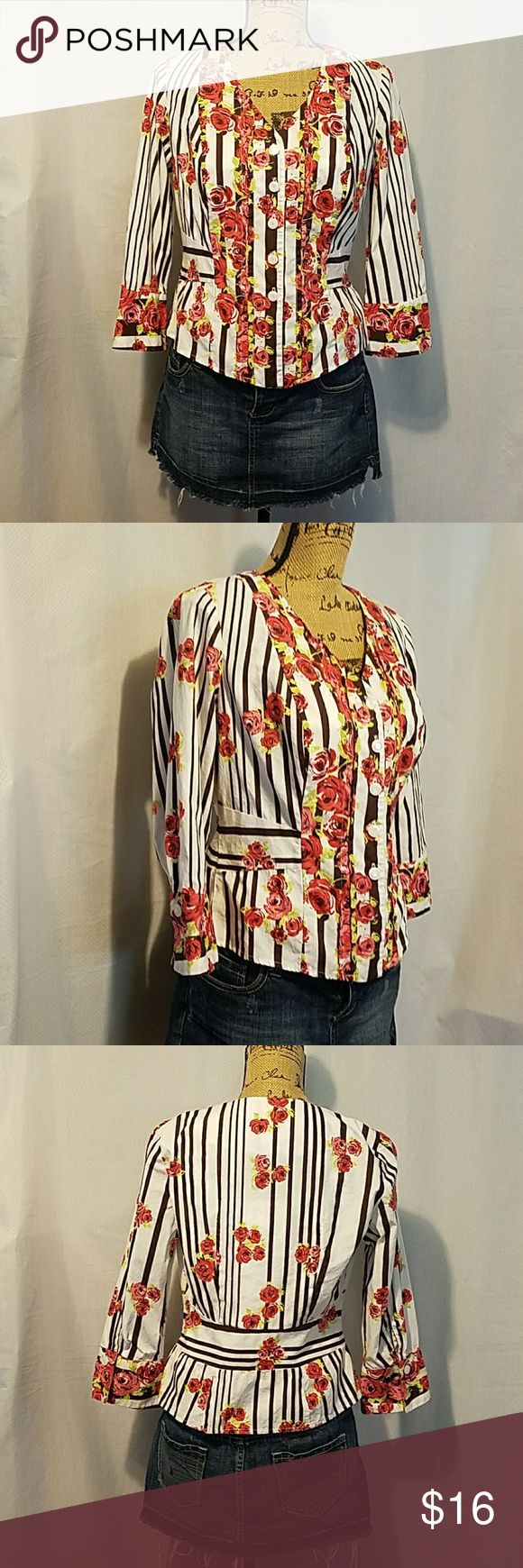 """Andrea Fisher Designs NYC 3/4 top. Andrea fisher designs nyc 3/4 top.Size medium. Shoulder to bottom 21"""" long,armpit to armpit 18"""" across.waist 15"""" laying flat.Color white,brown,mint green and pink rose flower.Used sign of wear the cloth a little bit fading.Good condition. ANDREA FISHER DESIGN NYC Tops Blouses"""