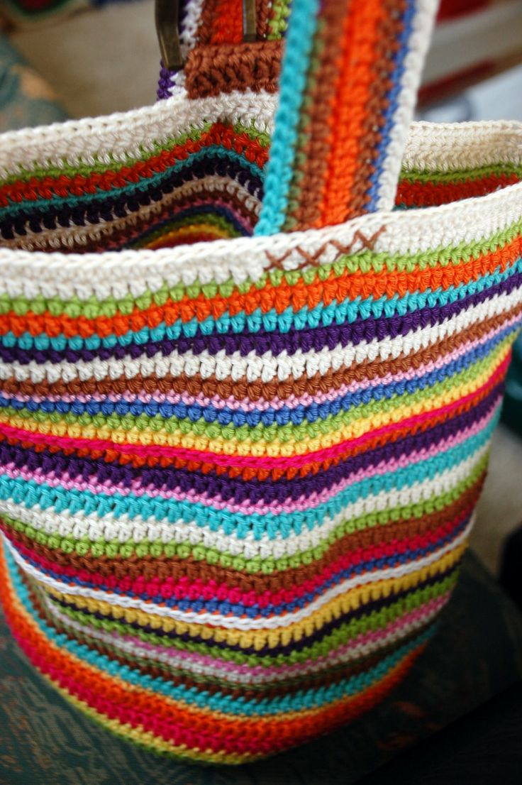 Easy to Make - market bag for you or as a gift...very attractive and good use of leftover yarns