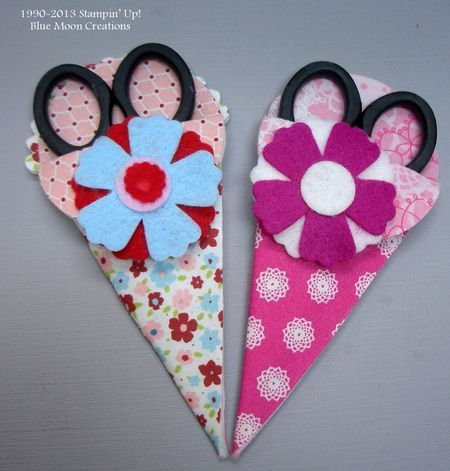 No sew fabric scissor holders.  Check my blog site for easy instructions:  http://www.stampingwithbluemooncreations.com/my_weblog/2013/05/fabric-scissors-holder-big-shot-and-the-petal-cone-die.html