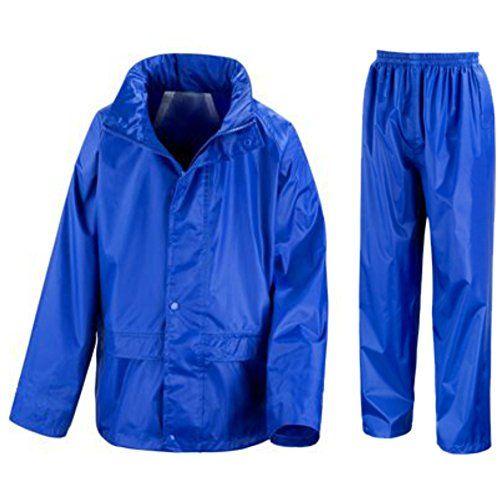 Kids Waterproof Jacket & Trousers Suit Set In Black Navy Blue Or Royal Blue Childs Childrens Boys Girls Wr225j (11-12 Years Royal Blue)