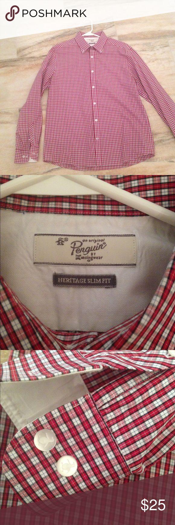 Men's penguin heritage slim fit dress shirt Brand new men's long sleeve red, white, and blue checkered dress shirt Original Penguin Shirts Dress Shirts