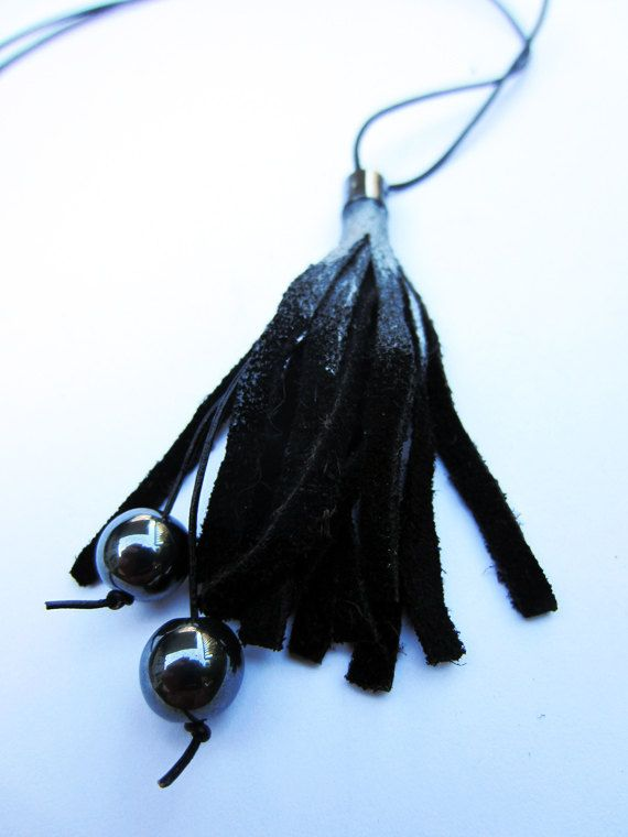 Black leather necklace with hematite beads by artispartem on Etsy, $19.00