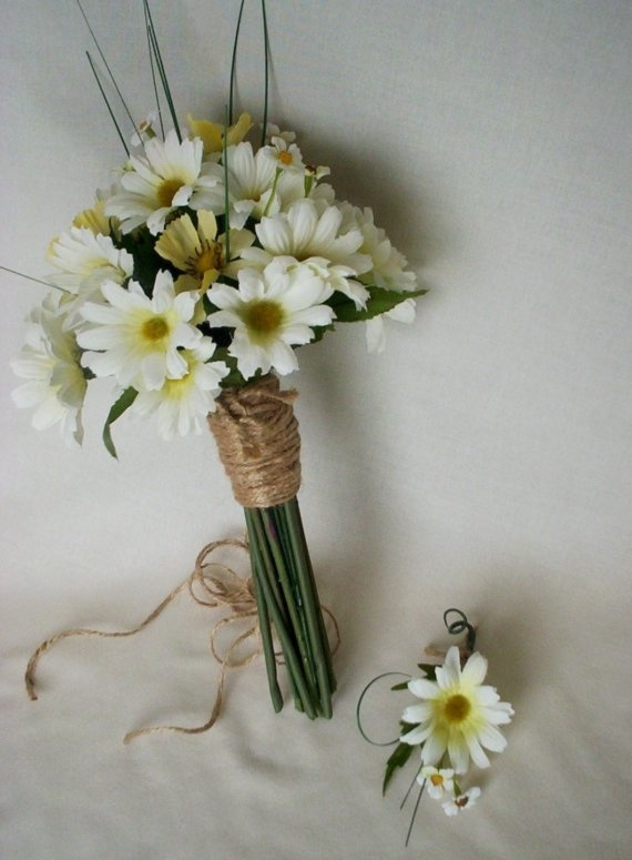 Hippie Weddings Daisy Bridal Bouquet yellow white