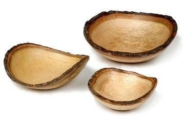 Enrico Mango Wood Round Bowl Set - eclectic - serving utensils - FactoryDirect2you
