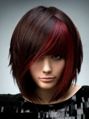 dark hair with a little red color: Haircuts, Hairstyles, Haircolor, Colors, Hair Cut, Hair Style, Wigs, Hair Color, Red Highlights