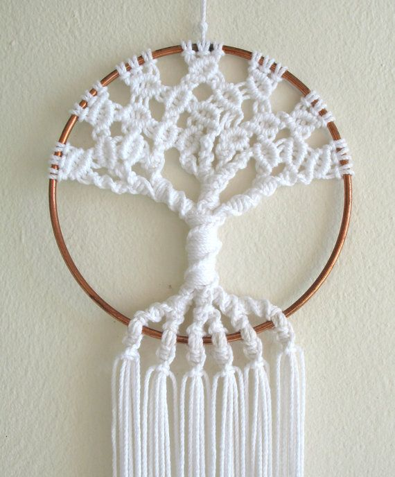 Macrame Tree Of Life Small 5 Inch Copper Hoop Wall By