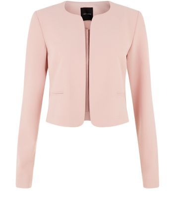Shell Pink Cropped Suit Blazer