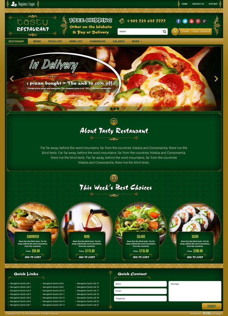 free psd tasty restaurant website template
