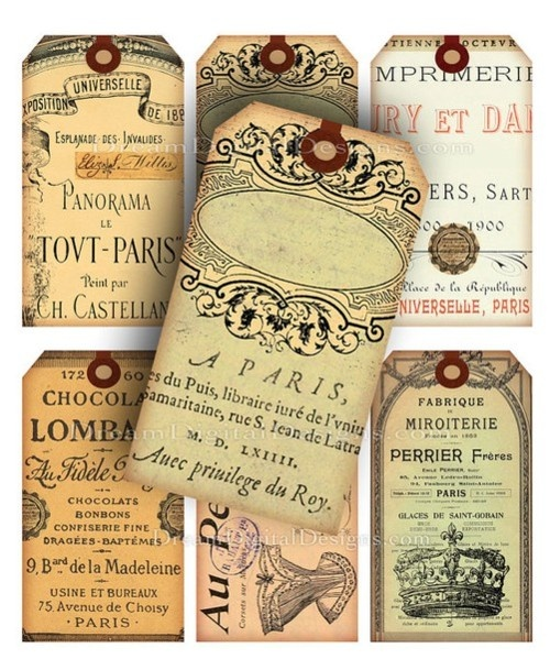 French Ephemera Gift Tags Altered Art Digital Collage Sheet via Etsy.  Elegant soaps wrapped like this would make cute favors.