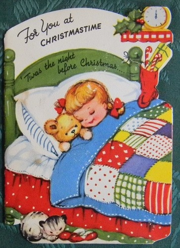 Girl Teddy Cat in Bed Signed Santa Vintage Novelty Christmas Greeting Card | eBay