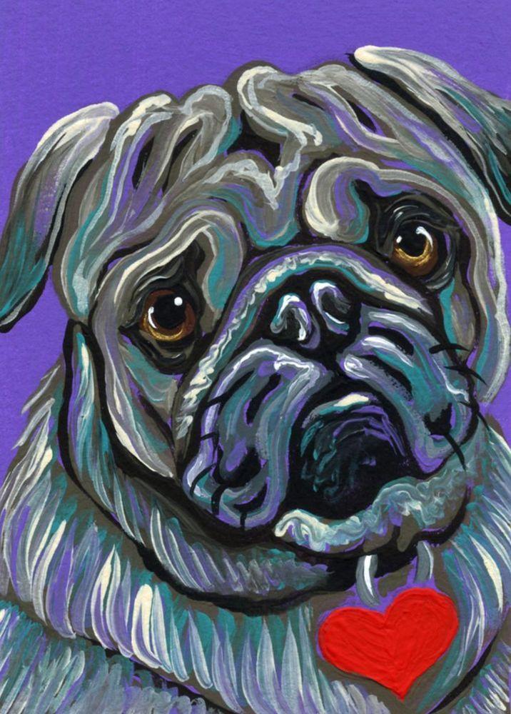 ACEO ATC Purple Pug Valentine Art Original Minature Painting-Carla Smale #Realism