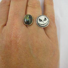 Labradorite and Skeleton Ring 5 (Medium)