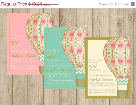 Hot Air Balloon Invitation  Hot Air Balloon by SharingAPassionINC, $8.20