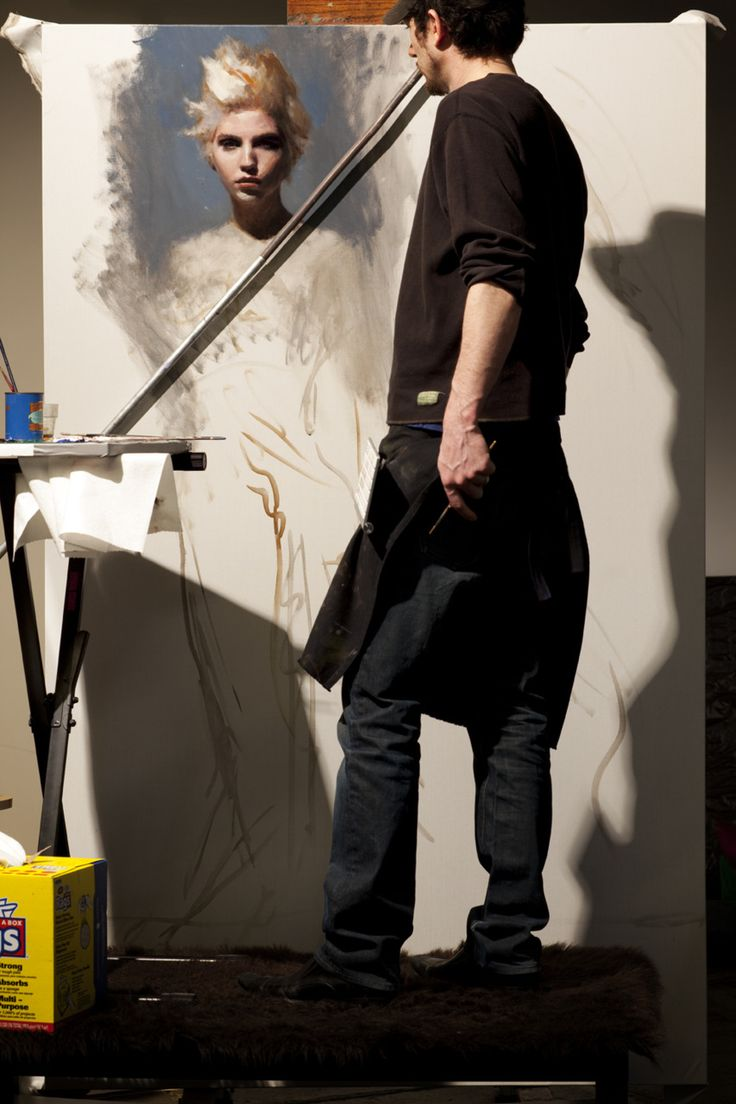 Casey Baugh painting in his art studio #workspace