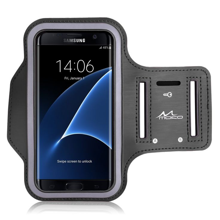 Amazon.com: Galaxy S7 Edge Armband, MoKo Sports Exercise Running Armband with Key Holder & Card Slot Sweatproof Gym Jogging Fitness Arm Band Case Cover, BLACK (Compatible with Cellphones up to 5.5 Inch): Cell Phones & Accessories