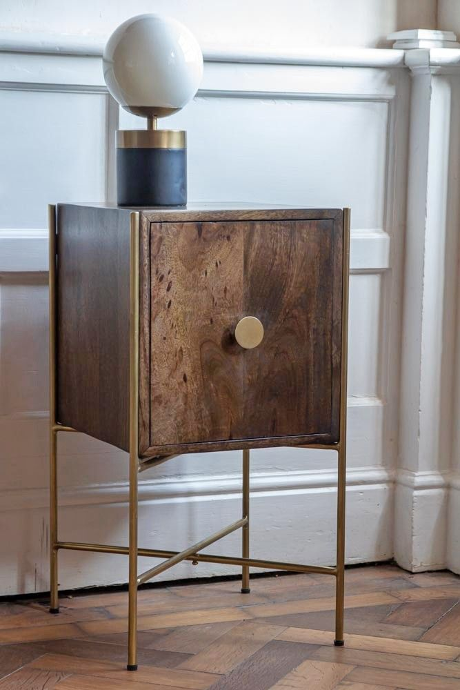 Retro Style Container Bedside Table: Retro Mango Wood & Gold Bedside Table