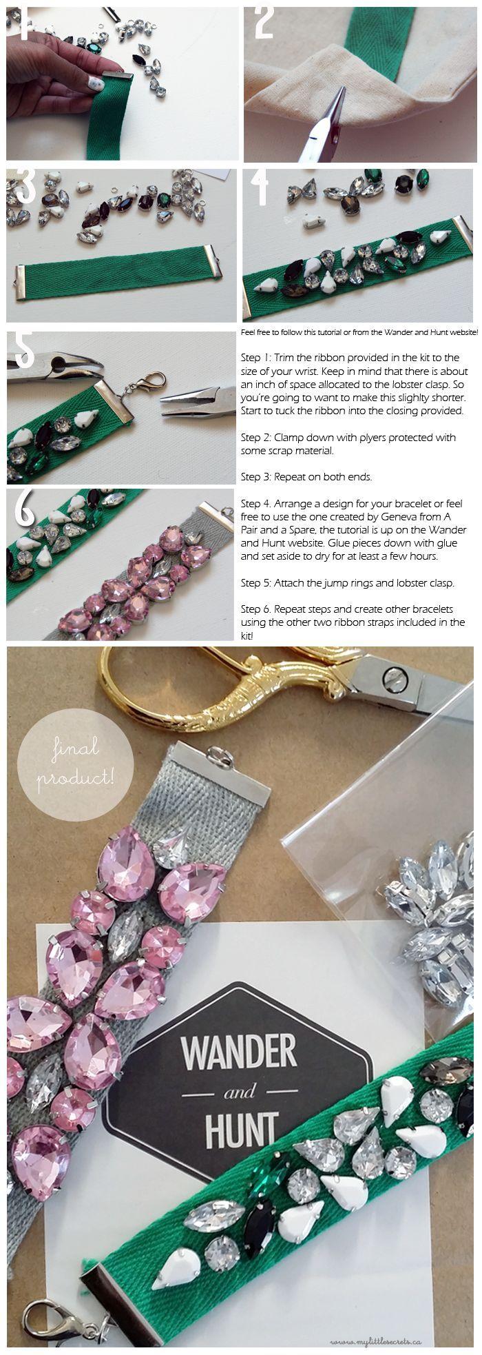 DIY :: Jeweled Ribbon Bracelet {Wander and Hunt}