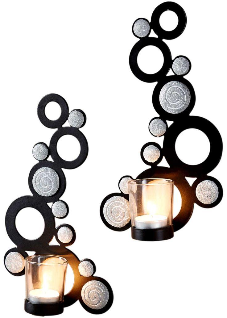 Jetzt anschauen: Moderne und zeitlose Wandkerzenleuchter aus schwarzem Eisen gefertigt und grauen Elementen in Steinoptik. Ein toller Hingucker an jeder Wand. Halterung für Teelichter inkl. klaren Teelichtgläsern.