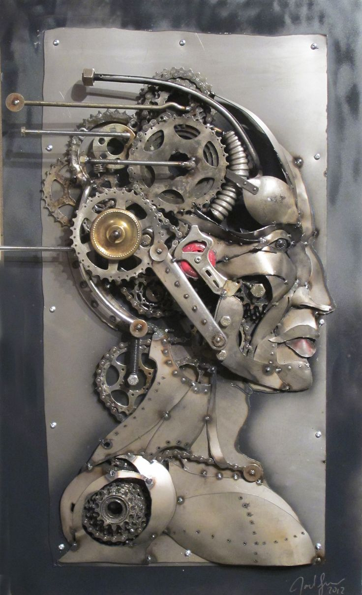 Joel Sullivan, Iron Designs, Nova Scotia. Male profile, metal art sculpture, steampunk, post modern, industrial, borg, recycled /SOLD