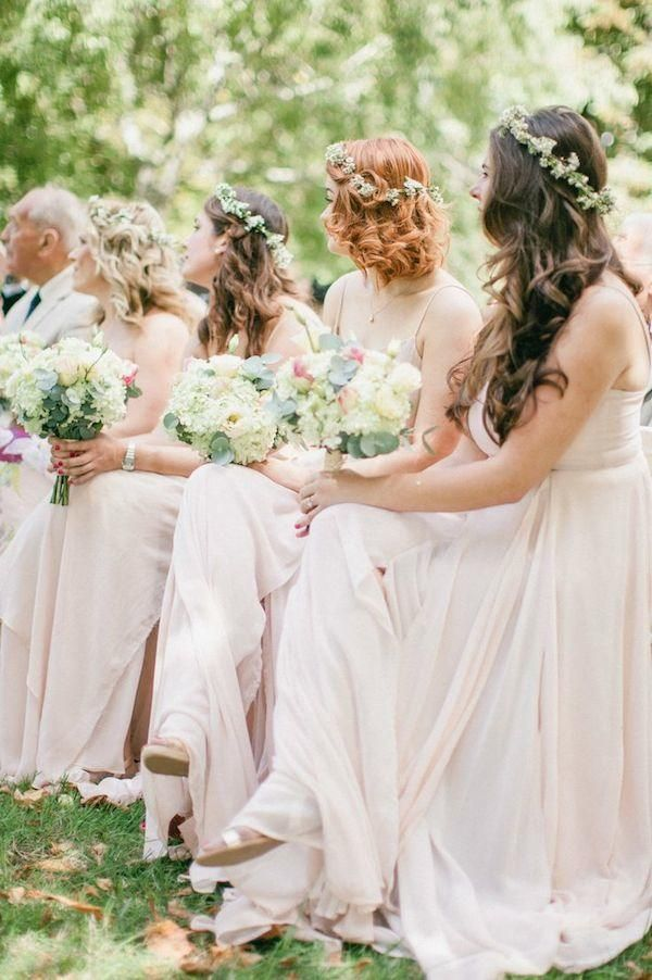 Photographer: Wookie Photography via Style Me Pretty; Bridesmaids sitting pretty in their blush gowns, lush bouquets and dainty floral crowns. Love!