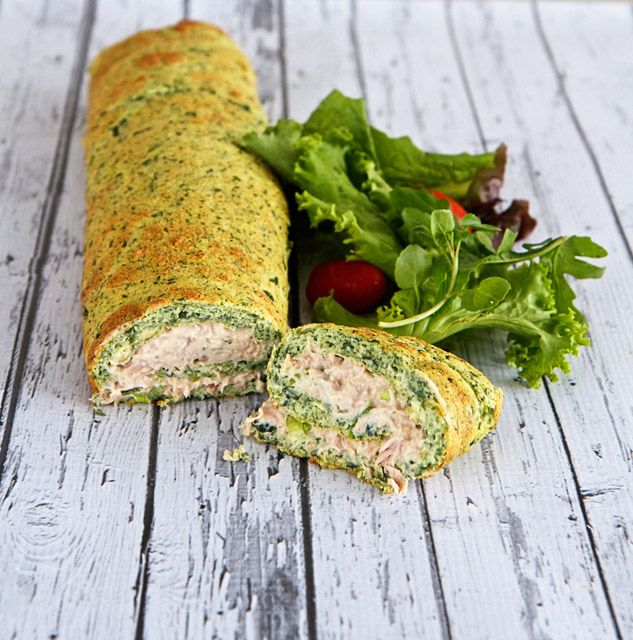 Spinach and Tuna Roulade. Healthy lunch time meal