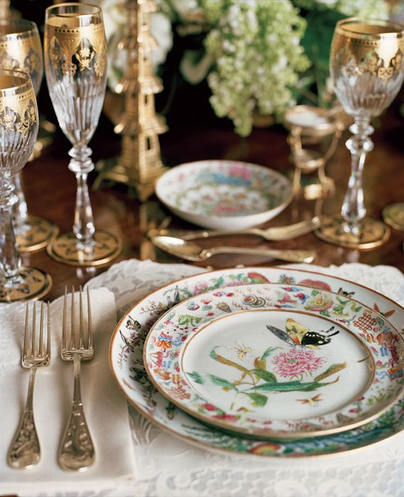 Beautiful antique china with Tiffany Audubon silver (Ann Getty)