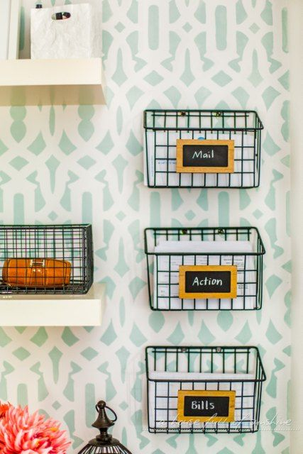 DIY+Industrial+Wire+Mail+Baskets+(from+a+$5+Cleaning+Caddy!)