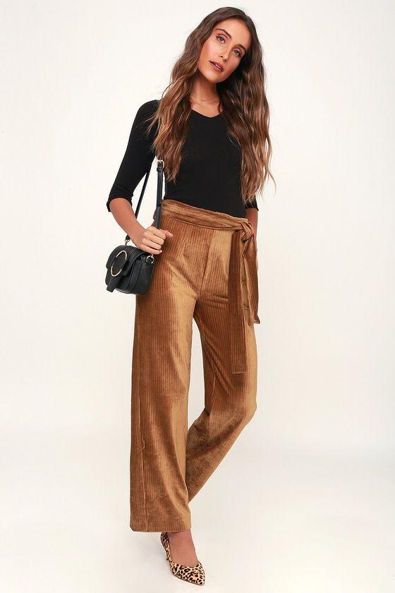 6cd70960fbf2 Trendy Light Brown Pants - Ribbed Velvet Pants - Wide-Leg Pants