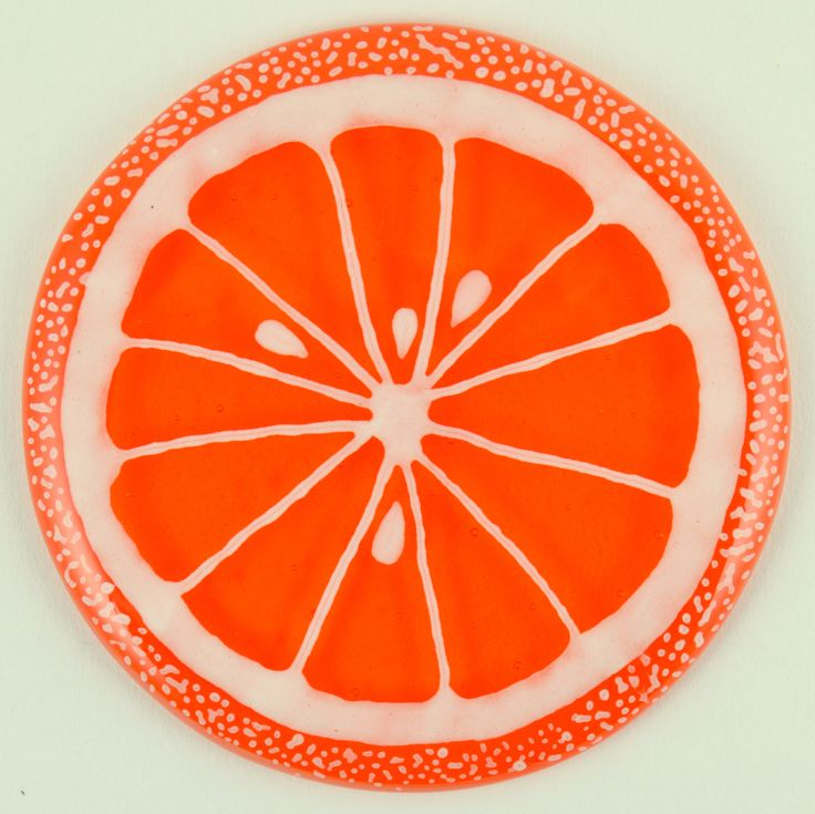 Fused Glass Coaster - Fruit Slice – Orange - £9. Hand painted with a paint that is permanently fused into the glass. Diameter approximately 10cm, with clear rubber bumpers on the base to keep them in place and protect your furniture. www.glassbygenea.co.uk #fusedglass