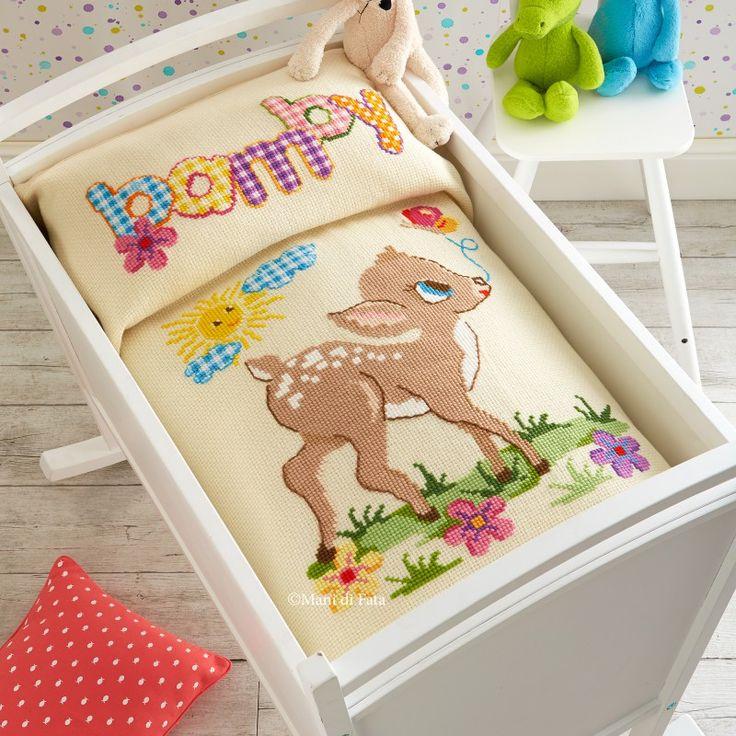 schema per copertina con bambi a punto croce