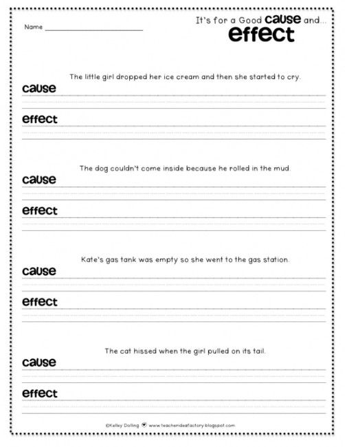 Teach Junkie: 12 Easy Cause and Effect Activities and Worksheets - Simple Sentences Cause and Effect Worksheet