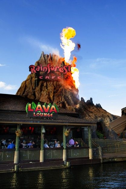 New Lava Lounge is now open at #DisneyWorld's Rainforest Cafe!! The volcano actually erupts!