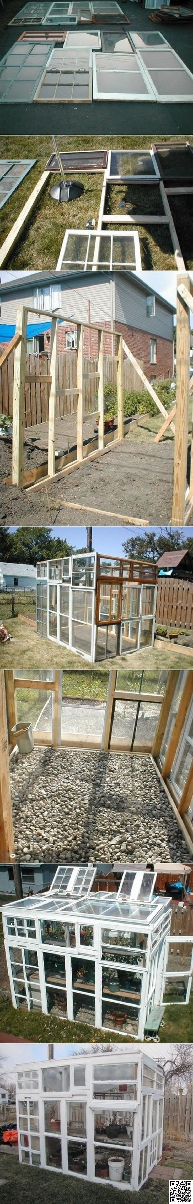 12. #Build a Greenhouse with Old #Windows - 31 Ways to Use Old Windows and Frames ... → DIY #Reuse