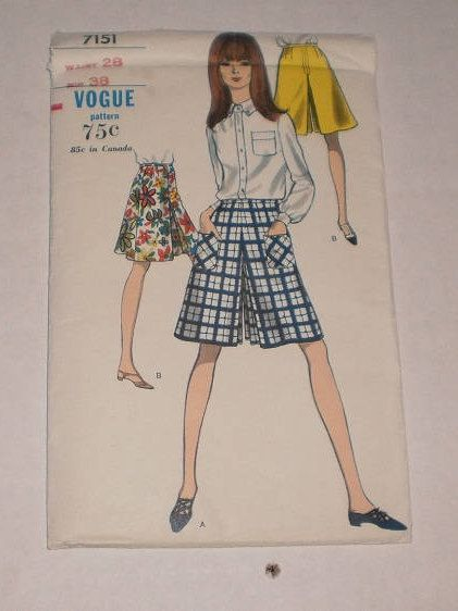 "Vintage Uncut Vogue Culotte Pattern, Vogue #7151, Waist 28"" (71cm) Hip 38"" (97cm), A-Line Culottes, Front & Back Pleats, 7"" Skirt Zipper by TheShoppingMoll on Etsy"