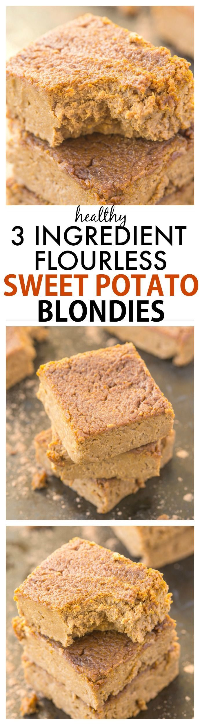 3 Ingredient Flourless Sweet Potato Blondies recipe- Delicious, melt in your mouth blondies (only THREE ingredients!) which take minutes to make and are decadent yet SO healthy- There NO flour, butter, sugar or oil! {vegan, gluten free, paleo}